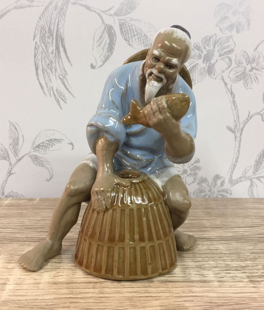 Ceramic Traditional Chinese Fisherman - Sitting, Light Blue